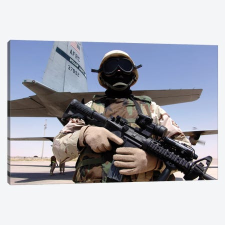 Soldier Guards A C-130 Hercules And Crew Canvas Print #TRK911} by Stocktrek Images Art Print