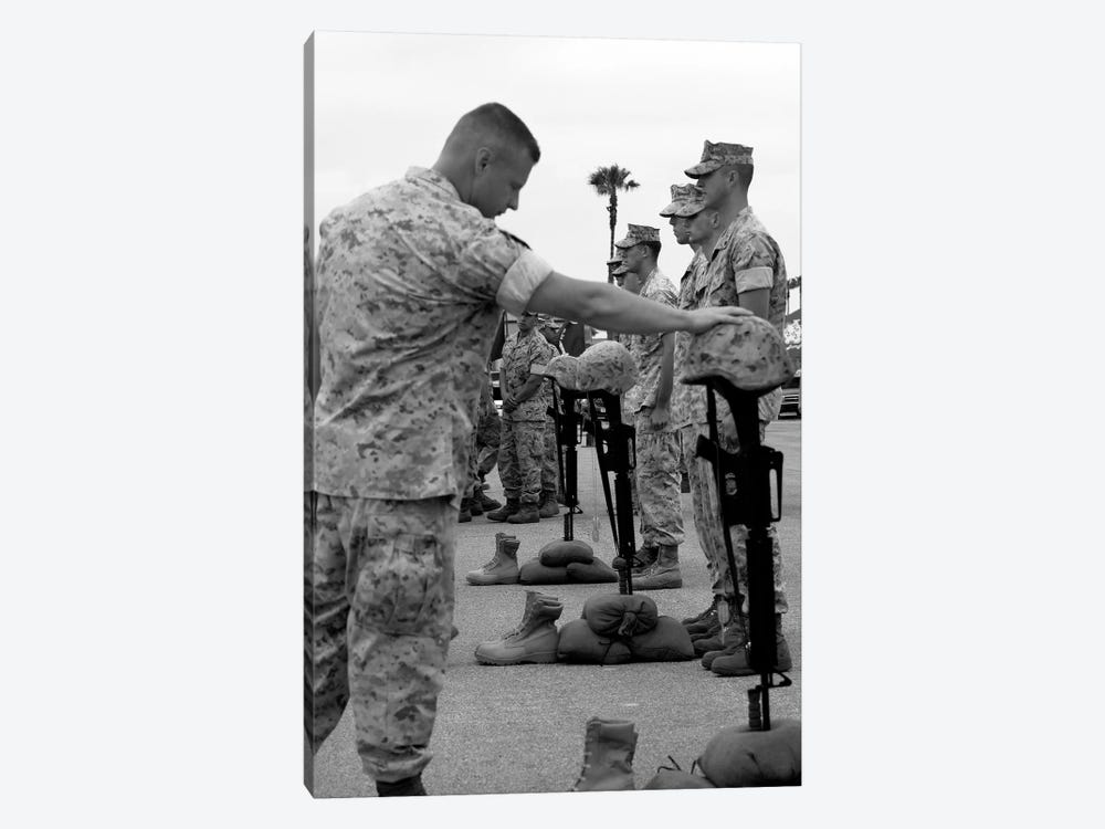 Soldier Pays His Respect To Fallen Marines by Stocktrek Images 1-piece Art Print