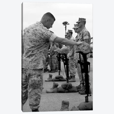 Soldier Pays His Respect To Fallen Marines Canvas Print #TRK913} by Stocktrek Images Art Print