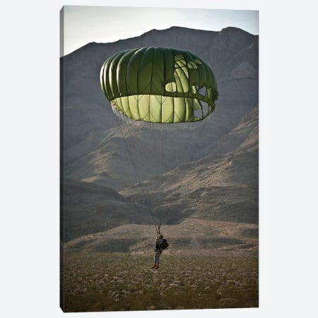 Soldier Prepares To Land After A Static-Line Jump Canvas Print #TRK914} by Stocktrek Images Canvas Art