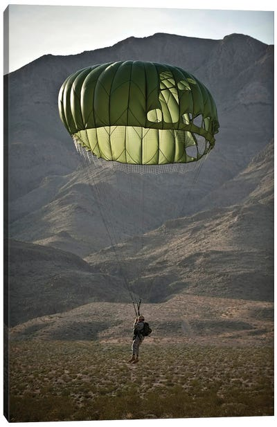 Soldier Prepares To Land After A Static-Line Jump Canvas Art Print