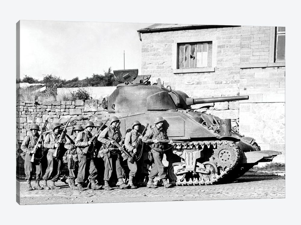 Soldiers And Their Tank Advance Into A Belgian Town During WWII by Stocktrek Images 1-piece Canvas Wall Art