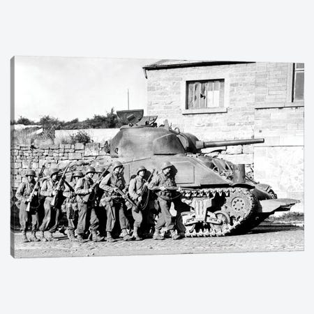 Soldiers And Their Tank Advance Into A Belgian Town During WWII Canvas Print #TRK916} by Stocktrek Images Canvas Art