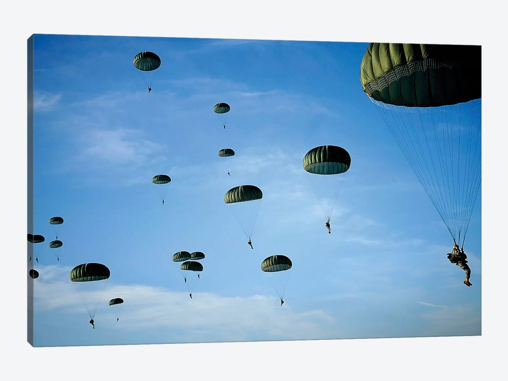 Soldiers Descend Under A Parachute Canopy During Operation Toy Drop by Stocktrek Images 1-piece Art Print