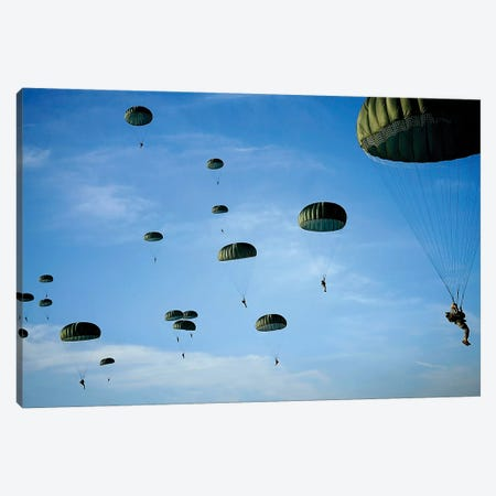Soldiers Descend Under A Parachute Canopy During Operation Toy Drop Canvas Print #TRK917} by Stocktrek Images Canvas Art