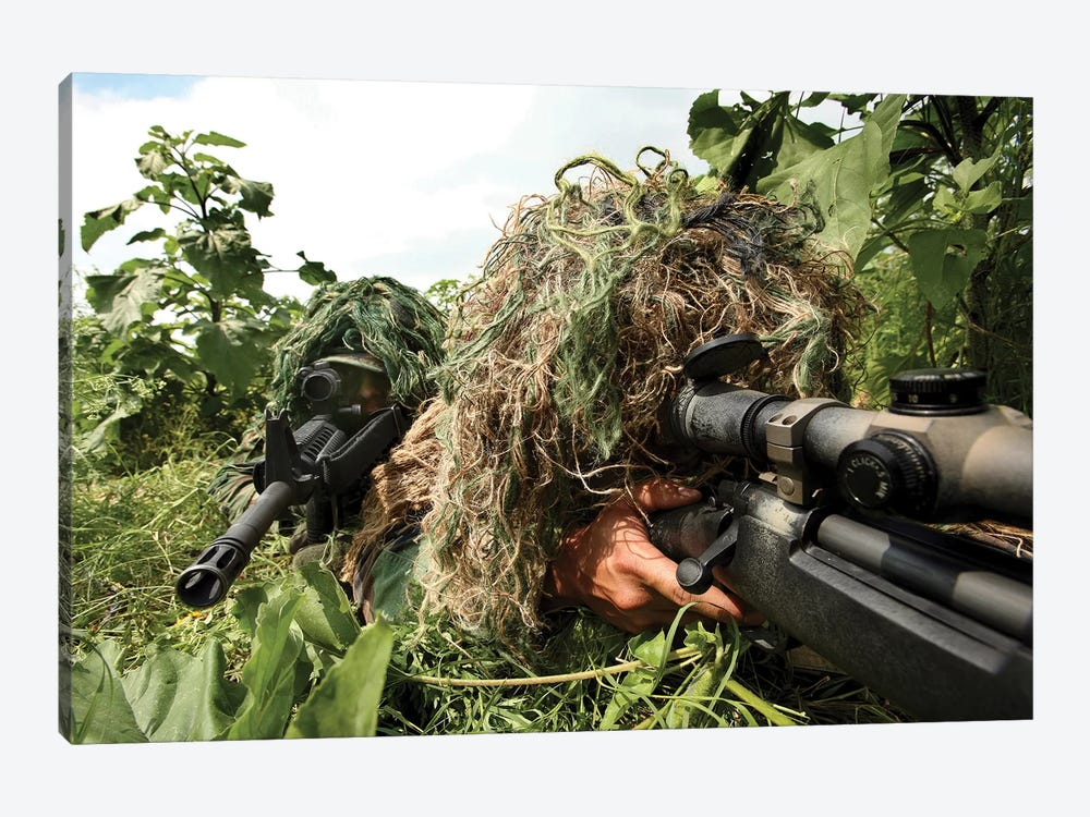 Soldiers Dressed In Ghillie Suits by Stocktrek Images 1-piece Canvas Artwork