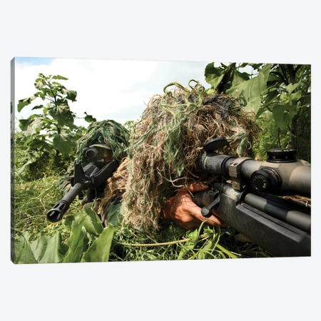 Soldiers Dressed In Ghillie Suits Canvas Print #TRK918} by Stocktrek Images Art Print