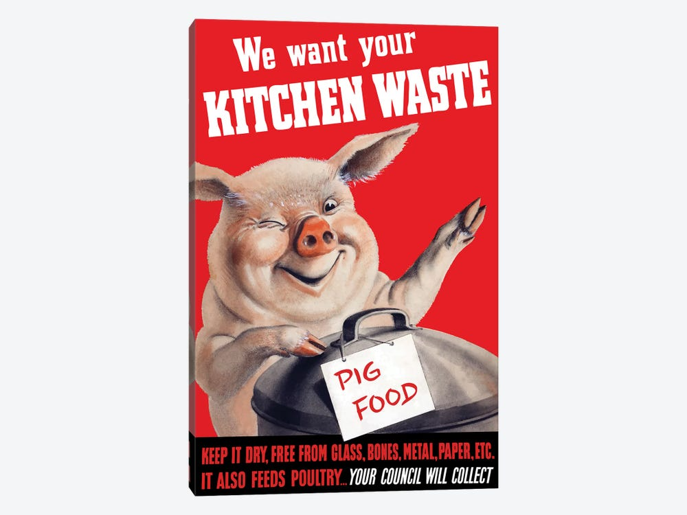 Vintage WWII Poster Featuring A Pig Standing With A Garbage Can by John Parrot 1-piece Art Print
