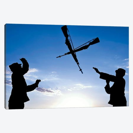 Soldiers Practice An Over-The-Head Rifle Toss Canvas Print #TRK923} by Stocktrek Images Canvas Artwork