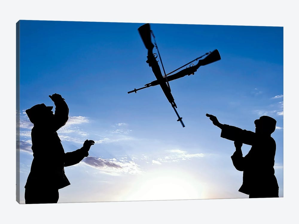 Soldiers Practice An Over-The-Head Rifle Toss by Stocktrek Images 1-piece Canvas Artwork