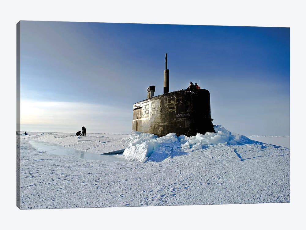 Submarine USS Connecticut Surfaces Above The Ice by Stocktrek Images 1-piece Canvas Art Print