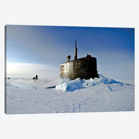 Submarine USS Connecticut Surfaces Above The Ice Canvas Print #TRK931} by Stocktrek Images Art Print