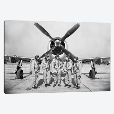 Test Pilots Stand In Front Of A P-47 Thunderbolt Canvas Print #TRK935} by Stocktrek Images Canvas Wall Art
