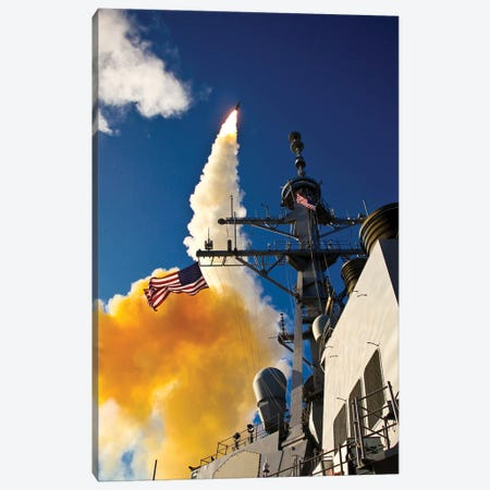 The Aegis-Class Destroyer USS Hopper Launching A Standard Missile 3 In Kauai, Hawaii Canvas Print #TRK936} by Stocktrek Images Canvas Art