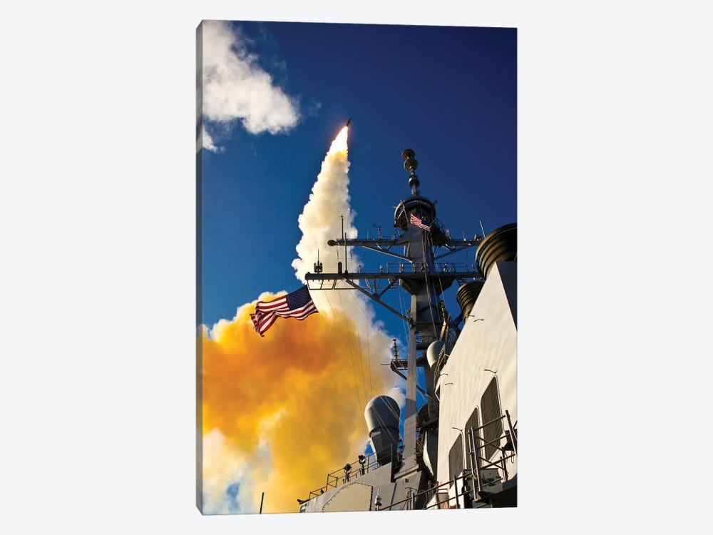 The Aegis-Class Destroyer USS Hopper Launching A Standard Missile 3 In Kauai, Hawaii by Stocktrek Images 1-piece Canvas Artwork