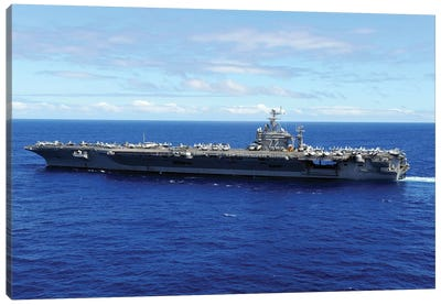 The Aircraft Carrier USS Abraham Lincoln Transits Across The Pacific Ocean Canvas Art Print
