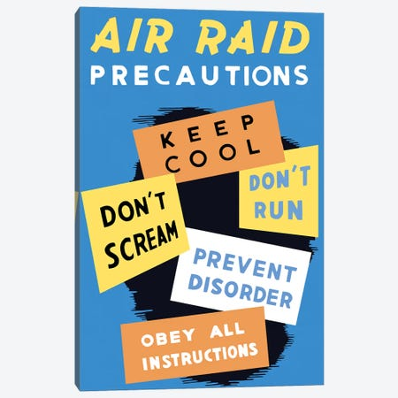 Vintage WWII Poster Featuring Air Raid Precautions Canvas Print #TRK93} by John Parrot Canvas Print