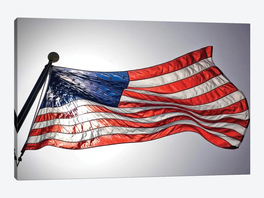 The American Flag Flies Prominently by Stocktrek Images 1-piece Canvas Art