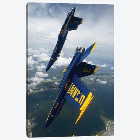 The Blue Angels Perform A Looping Maneuver Over Pensacola Beach, Florida Canvas Print #TRK943} by Stocktrek Images Canvas Wall Art