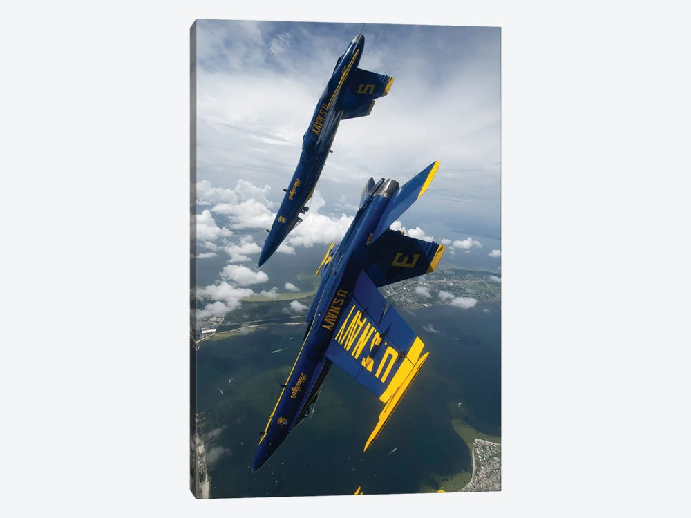 The Blue Angels Perform A Looping Maneuver Over Pensacola Beach, Florida by Stocktrek Images 1-piece Canvas Wall Art