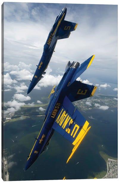 The Blue Angels Perform A Looping Maneuver Over Pensacola Beach, Florida Canvas Art Print