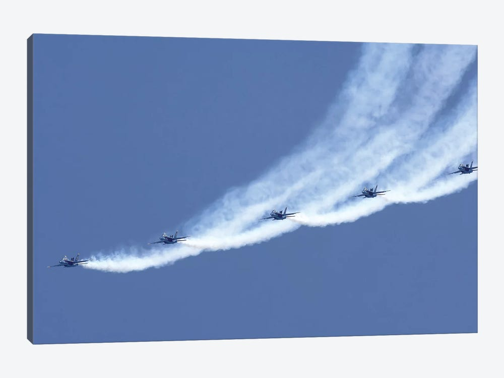 The Blue Angels Performing A Line Abreast Loop During An Air Show by Stocktrek Images 1-piece Canvas Artwork