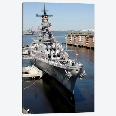 The Decommissioned US Navy Battleship, USS Wisconsin, Berthed To The Pier Canvas Print #TRK949} by Stocktrek Images Canvas Artwork