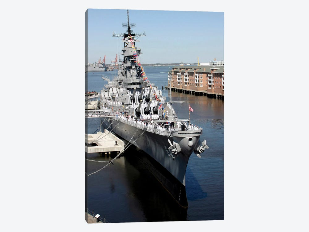 The Decommissioned US Navy Battleship, USS Wisconsin, Berthed To The Pier by Stocktrek Images 1-piece Canvas Artwork