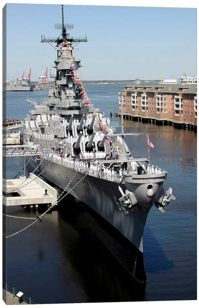 The Decommissioned US Navy Battleship, USS Wisconsin, Berthed To The Pier Canvas Art Print