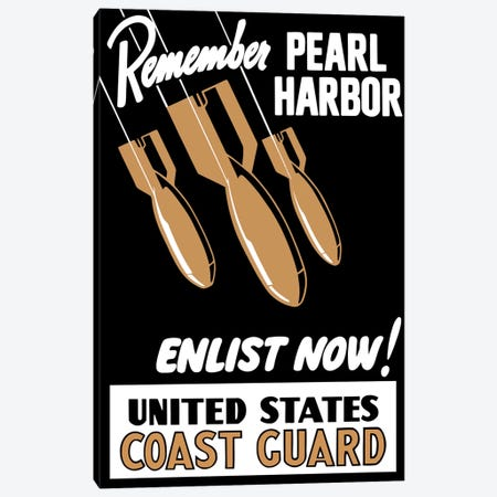 Vintage WWII Poster Featuring Bombs Falling Canvas Print #TRK94} by John Parrot Canvas Artwork