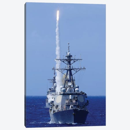 The Destroyer USS Benfold Fires A Surface-To-Air Missile Off The Coast Of Hawaii Canvas Print #TRK950} by Stocktrek Images Canvas Art Print