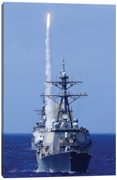 The Destroyer USS Benfold Fires A Surface-To-Air Missile Off The Coast Of Hawaii Canvas Art Print