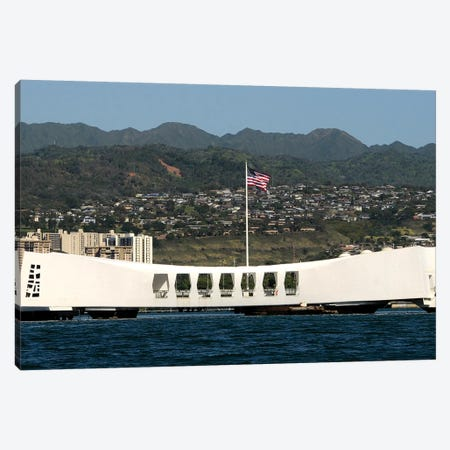 The Ensign Flies Over The Arizona Memorial Canvas Print #TRK952} by Stocktrek Images Canvas Print