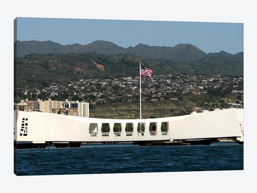 The Ensign Flies Over The Arizona Memorial by Stocktrek Images 1-piece Canvas Art