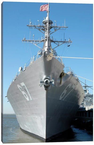 The Guided Missile Destroyer USS Cole Sits Moored To A Pier Canvas Art Print