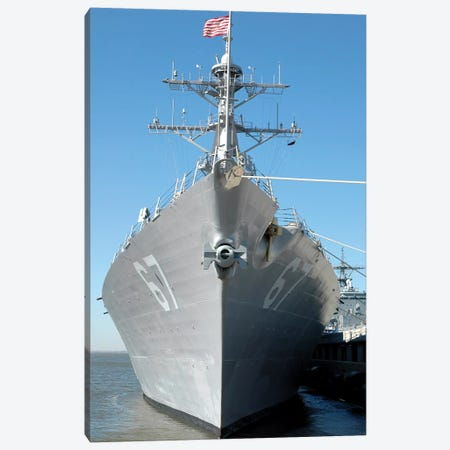 The Guided Missile Destroyer USS Cole Sits Moored To A Pier Canvas Print #TRK956} by Stocktrek Images Canvas Wall Art