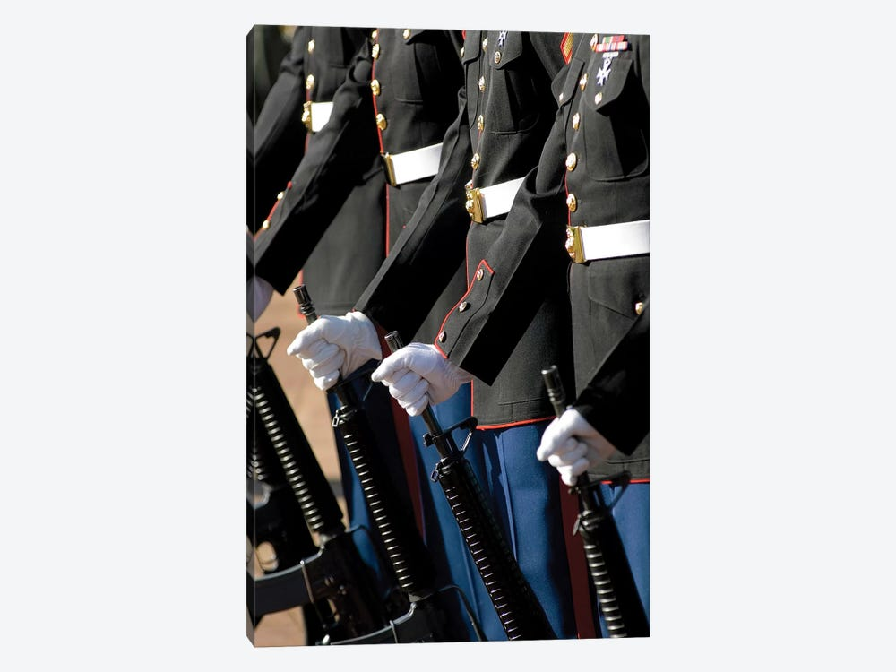 The Kaneohe Rifle Team Stands At Parade Rest With 5.56 mm M16A2 Rifles by Stocktrek Images 1-piece Canvas Art