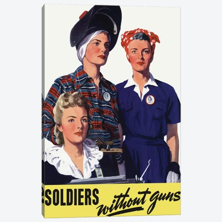 Vintage WWII Poster Featuring Female Homeland Production Workers Canvas Print #TRK95} by John Parrot Canvas Art
