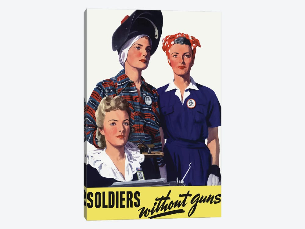 Vintage WWII Poster Featuring Female Homeland Production Workers by John Parrot 1-piece Art Print