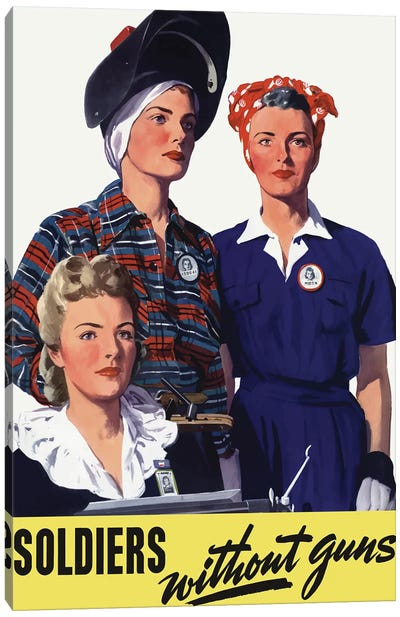 Vintage WWII Poster Featuring Female Homeland Production Workers Canvas Art Print