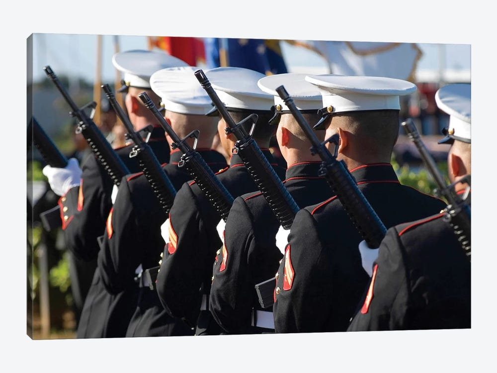The Marine Corp Base Kaneohe Rifle Team Performs The 21-Gun Salute by Stocktrek Images 1-piece Art Print