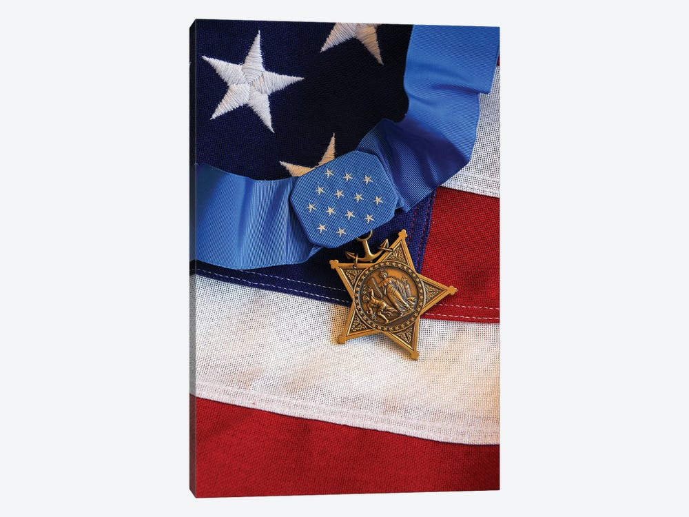 The Medal Of Honor Rests On A Flag During Preparations For An Award Ceremony I by Stocktrek Images 1-piece Canvas Wall Art