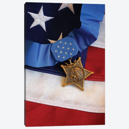 The Medal Of Honor Rests On A Flag During Preparations For An Award Ceremony I Canvas Print #TRK963} by Stocktrek Images Canvas Wall Art