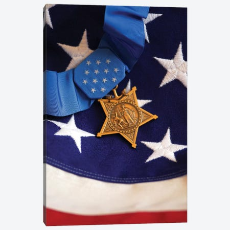 The Medal Of Honor Rests On A Flag During Preparations For An Award Ceremony II Canvas Print #TRK964} by Stocktrek Images Canvas Art Print