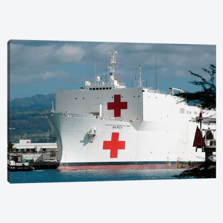 The Military Sealift Command Hospital Ship USNS Mercy Moored In Pearl Harbor Canvas Print #TRK965} by Stocktrek Images Canvas Art Print