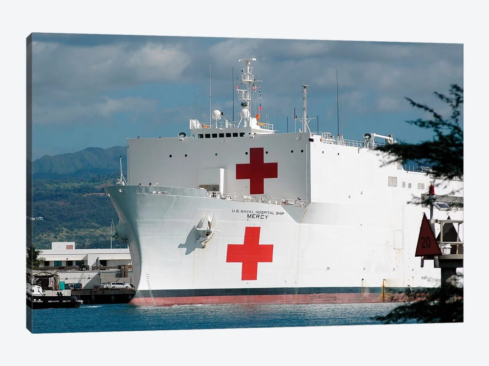 The Military Sealift Command Hospital Ship USNS Mercy Moored In Pearl Harbor by Stocktrek Images 1-piece Canvas Art