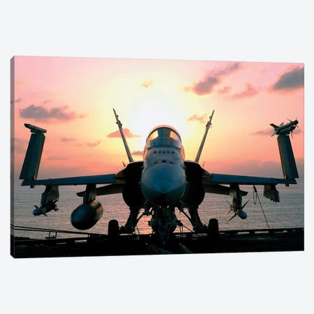 The Sun Rises On An F/A-18 Hornet Canvas Print #TRK972} by Stocktrek Images Canvas Print