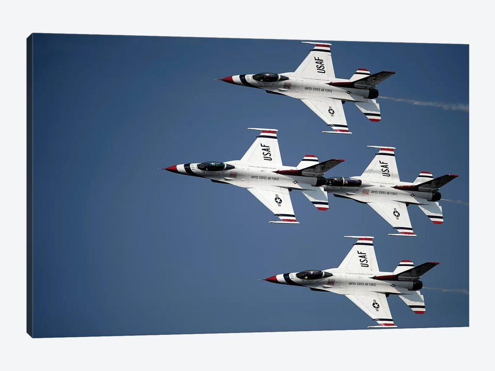 The US Air Force Thunderbird Demonstration Team by Stocktrek Images 1-piece Art Print
