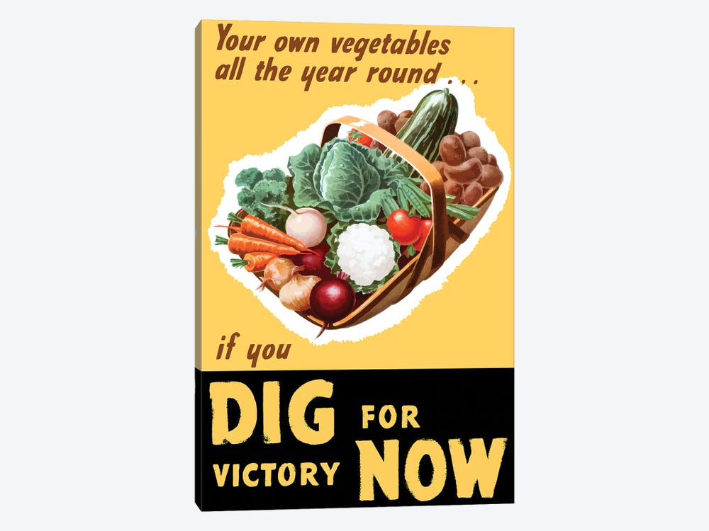 Vintage WWII Poster Of A Basket Filled With Fresh Vegetables by John Parrot 1-piece Art Print