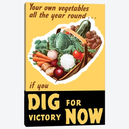 Vintage WWII Poster Of A Basket Filled With Fresh Vegetables Canvas Print #TRK97} by John Parrot Canvas Wall Art